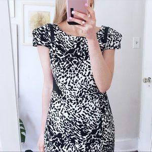 Tibi cap sleeve snow leopard print dress size 4